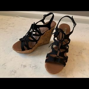 Mossimo supply co. Black tie up cork wedge sandal